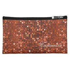 Sparkling Orange Mosaic Pattern Cosmetics Bag | Available In Dark Orange, Blue, & Purple