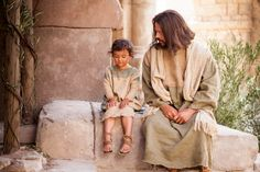 "Christ sits with a young child while teaching that we must ""become as little children."" God and Jesus Christ"