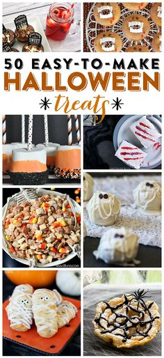 50 {easy-to-make} Halloween Treat Recipes! -- Check out this huge list of Halloween treat ideas, each one will make a perfectly delicious addition to your Halloween festivities! food treats easy Halloween treats: 50 Easy-to-make Halloween treats Theme Halloween, Halloween Food For Party, Halloween Desserts, Halloween Birthday, Holidays Halloween, Halloween Treats, Halloween Brownies, Halloween Cupcakes, Halloween Ideas