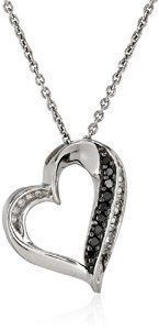 #blackdiamondgem Sterling Silver Black and White Diamond (1/10cttw, I-J Color, I2-I3 Clarity) Heart Pendant Necklace