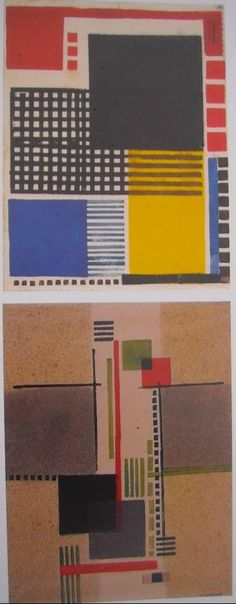 Vilmos Huszar, Compositions, 1924, monotypes, 47 x 32 cm, Kröller-Müller Museum of Otterlo. Vilmos Huszár (1884-1960) - Composition with White Head, Vilmos Huszár was a Hungarian painter and designer. He lived in The Netherlands, where he was one of the founder members of the art movement De Stijl. Vilmos was born in Budapest, Hungary.
