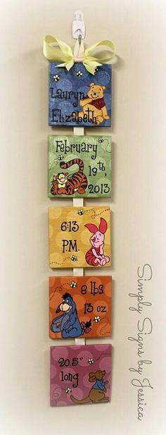 Nursery wall art. Baby birth info