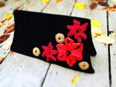 Velvet clutch Upcycled unique handmade bag black fold-over retro embellished in art-deco style with red and golden flowers by DesignsbyPolina on Etsy https://www.etsy.com/ca/listing/195831267/velvet-clutch-upcycled-unique-handmade