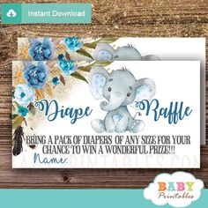 Printable Boho Floral Blue Boy Elephant Diaper Raffle Tickets to draw that exciting baby shower raffle prize! #babyshower #babyshowerparty #babyshowergames