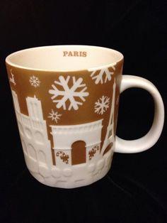 Starbucks Paris France Relief Mug Gold Christmas Eiffel Tower Louvre 2014 Cup #Starbucks