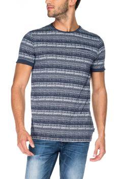 T-shirt às riscas com decote redondo | 115338 Azul | Salsa