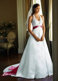 Amazon.com: David's Bridal Wedding Dress: Satin A-line Halter with Split Front Style T9218: Clothing