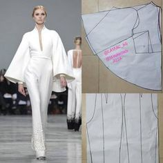 his jumpsuit looks nice. Appears intricate doesn't it? Definitely looks like one of the many styles you'd love to learn how to make. Pattern Cutting, Pattern Making, Dress Sewing Patterns, Clothing Patterns, Bag Patterns, Blouse Patterns, Fashion Sewing, Diy Fashion, Sewing Clothes