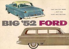 Big '52 Ford brochure 2 Retro Cars, Vintage Cars, Antique Cars, Volkswagen Karmann Ghia, Ad Car, Car Brochure, Car Advertising, Car Posters, Ford Motor Company