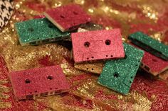 Glitter Covered Cassette Tapes - I see a Christmas ornament idea in the future!