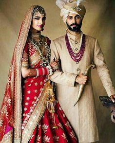 Couple Wedding Dress, Wedding Dresses Men Indian, Indian Bridal Outfits, Sonam Kapoor Wedding, Bollywood Wedding, Mehndi, Henna, Indian Wedding Couple Photography, Indian Groom Wear