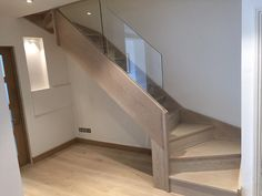Abbott-Wade stained oak staircase with frameless glass balustrade. New Staircase, Staircase Railings, Staircase Design, Stairways, Staircase Ideas, Hallway Ideas, Modern Basement, Modern Stairs, Traditional Staircase