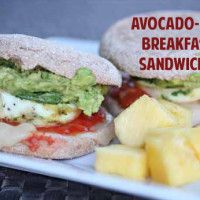 Avocado Breakfast Sandwich with baked eggs in muffin tins