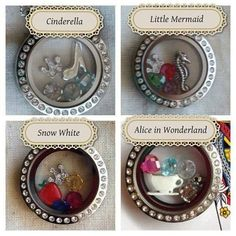 Cinderella, Snow White, The Little Mermaid, Alice in Wonderland. Disney Themed Locket Origami Owl ~ custom jewelry perfect gift personalized tell your story. Lisa Marranzino Origami Owl Designer #49140