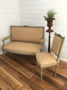 Antique French Salon Settee and Chair - Lovingly Made - Garden & Home Vintage Furniture Boutique - Sussex