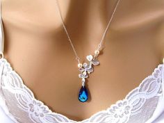 Romantic Blue Crystal Necklace Orchid by martywhitedesigns on Etsy