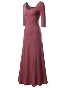 744b5cc283 NEARKIN NKNKW5LD652 Beloved Womens Scoop Neck Slim Cut Stretchy Maxi Dress  WINE US MTag size L · Long ...