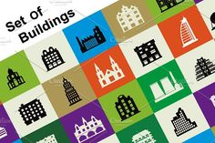 Set of vector buildings by Alexzel on @creativemarket