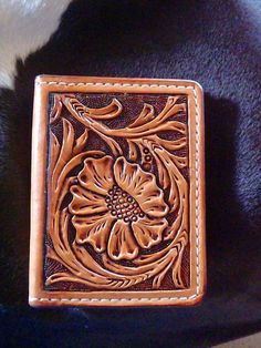 Tooled Leather Card wallet by FeatherRiverLeather on Etsy