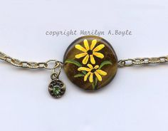 SOLD - JEWELRY  ANKLET  STONE Hand Painted original by OriginalSandMore