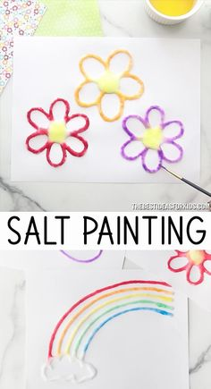 Salt Painting - choose from a rainbow, flower, butterfly or sun template. An easy craft for kids! diy crafts for kids videos Salt Painting Arts And Crafts For Kids Toddlers, Craft Activities For Kids, Preschool Crafts, Diy For Kids, Daycare Crafts, Creative Ideas For Kids, Crafts For Babies, Older Kids Crafts, Teen Girl Crafts
