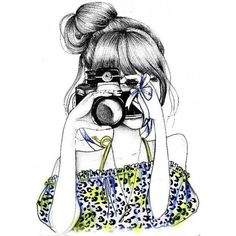 Camera girl drawing Drawings ❤ liked on Polyvore featuring fillers and draw