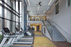 The two-story fitness center is fully-equipped with machines, weights, kettle bells, and on-demand fitness, perfect for any workout.