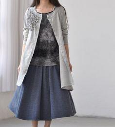 Cotton asymmetric Applique hood Long sleeve Shirt/ gray/ by MaLieb