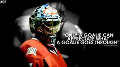 I swear, nearly every player I meet thinks that being a goalie is easy and I just sit there and be like Field Hockey Goalie, Hockey Mom, Hockey Players, Hockey Stuff, Goalie Quotes, Hockey Quotes, Montreal Canadiens, Nhl, Hockey Party