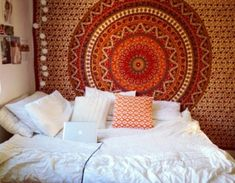 scarf home decor hippie rug boho shorts bedding home accessory bedroom dorm room orange indie boho indie furniture wall hanging home decor tapestry top