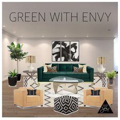 This empty living room was inspired by the emerald green sofa, I am green with envy! #designyourjoy #emeraldgreen Home Decor & Moore West Elm Tonic Living Herman Miller