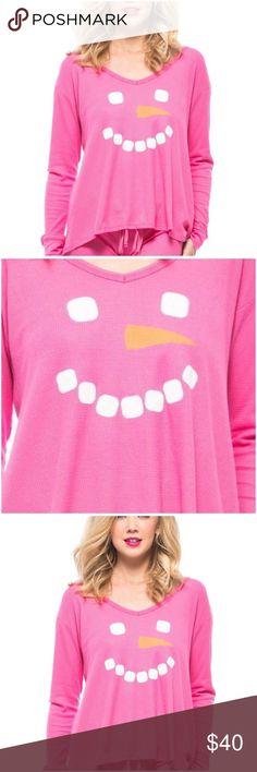 Wildfox Intimates Wildfox Mod Magenta Frosty Face Christmas Pajama Top Thermal Shirt (ZR1 NWT Wildfox Tops Tees - Long Sleeve