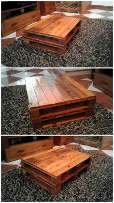 Rustic Coffee Table Made Out of Pallets | 101 Pallet Ideas - it is to use on living room carpeted floors, raise it on wheels for an industrial touch....