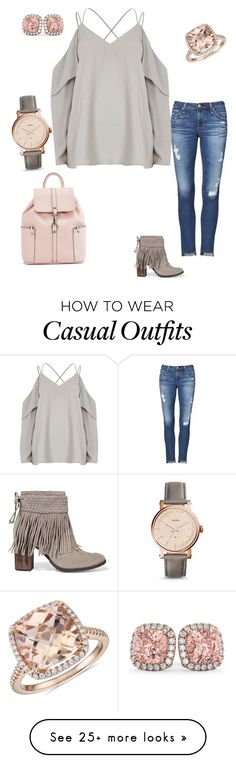 """Casually Classy"" by kim-whaley on Polyvore featuring AG Adriano Goldschmied, Schutz, Blue Nile, FOSSIL and Allurez"