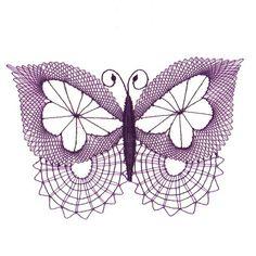 Paličkovaná dekorace - motýl / Zboží prodejce Babiččino paličkování | Fler.cz Irish Crochet, Crochet Lace, Free Crochet, Crochet Butterfly, Butterfly Art, Bobbin Lacemaking, Bobbin Lace Patterns, Lace Heart, Point Lace