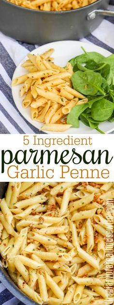 EASY dinner recipe idea I love this pasta dish that is so simple to make 5 Ingredient Parmesan Garlic Penne pasta dinner Pasta Side Dishes, Pasta Sides, Food Dishes, Easy Pasta Recipes, Easy Meals, Easy Dinners To Make, Easy Penne Pasta Recipes, Weeknight Meals, Healthy Pastas