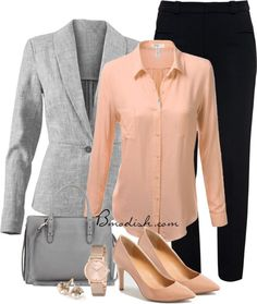 Grey and a POP of color! Love the Rose Gold watch to match and set off maybe a sweater instead of blazer for the weekend!!!☀️