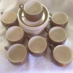 Denby English brown and cream coffee set of 8 cups and saucers #Denby