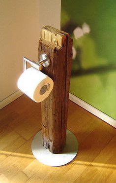 DESIGN Toilettenpapier Halter ,Einzelstück, Massivholz, Dachholz, Fuß Edelstahl