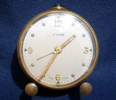 CUTE VINTAGE Ca 1950 s CYMA SWISS MADE SOLID BRASS TRAVEL ALARM CLOCK