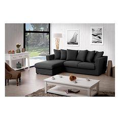 Sofá con ángulo fijo a la izquierda Sheston  algodón - antracita  241 x 177 x 86 cm