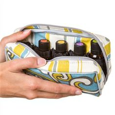 Essential Oil Carrying Case by Dani's Designs sold on Aromatools.com    Also sell larger version that holds up to 40 oils.  Can select from several different fabrics.