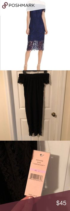 NWT Nanette Lepore lace off the shoulder LBD NWT. Absolutely gorgeous black lace little black dress. Mid calf length dress. Super classy. Off the shoulder style. Still available on Bloomingdales for full priced. Size 6 true to size in my opinion. Nanette Lepore Dresses Midi