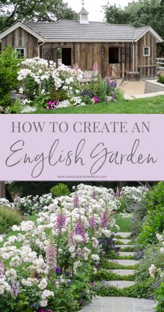 to Create a Romantic English Garden - Garden Flower Ideas-Foxglove-Delphinium-Garde.How to Create a Romantic English Garden - Garden Flower Ideas-Foxglove-Delphinium-Garde. Garden Types, Diy Garden, Garden Cottage, Dream Garden, Garden Grass, Garden Shrubs, Garden Paths, Wisteria Garden, Garden Club