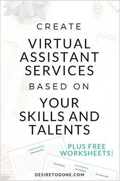 Wondering what type of services you can offer clients as a virtual assistant?This article takes you through a simple exercise for figuring out your services. It's easy to do and fun! Plus you might be surprised what comes up! // Desire To Done -- Home Based Business, Business Tips, Online Business, Business Planning, Business Cards, How To Start A Blog, How To Make Money, How To Become, Quick Money