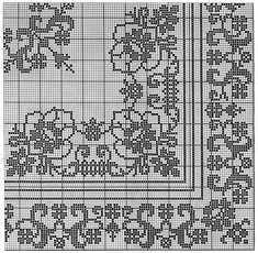 This Pin was discovered by Tat Cross Stitch Borders, Cross Stitch Flowers, Cross Stitch Charts, Cross Stitching, Cross Stitch Embroidery, Embroidery Patterns, Cross Stitch Patterns, Crochet Tablecloth Pattern, Crochet Motif