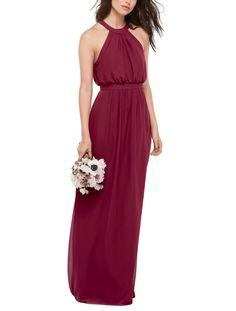 DescriptionWtoo style 403Full length bridesmaid dressHigh halter neckline with slim keyhole back and blouson bodiceStraight skirt with long back slitInna Chiffon