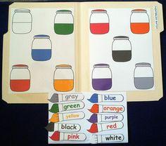 Paintbrush Color Match Mouse Paint Laminated File by feltresources, via Etsy. Preschool Colors, Preschool Literacy, Preschool Printables, Kindergarten, File Folder Activities, File Folder Games, File Folders, Mouse Paint, Christian School