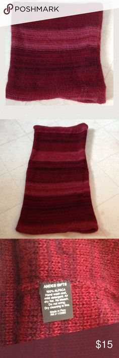 """Alpaca neck warmer - scarf 100% Alpaca material. Made in Peru. Longest length is approx. 20"""", the ends do naturally roll under. Cover photo shows doubled (folded down). Very soft and warm. Andes Gifts Accessories Scarves & Wraps"""