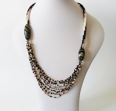 Beadwork  Bead embroidery  necklace  Crocheted bead by LIAKURZ, $98.00